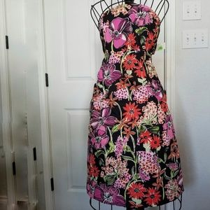 Lilly pulitzer strapless black floral dress